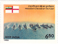 Stamp issued on President's Fleet Review 1989