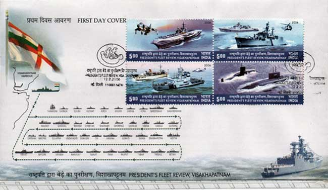 First Day Cover issued on President's Fleet Review 2001