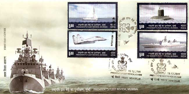 First Day Cover issued on President's Fleet Review 2011