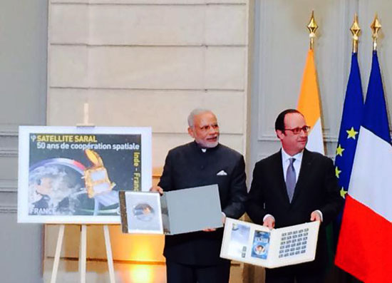 Commemorative Stamp on India – France: 50 Years of Space Co-operation