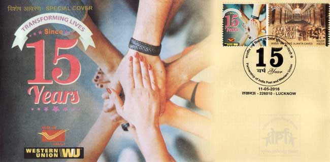 Special Cover on 15 years of Partnership of India Post and Western Union