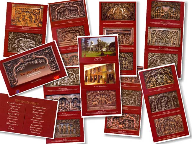 Picture Postcards on 'Wooden Carvings at Karanji Mansion'