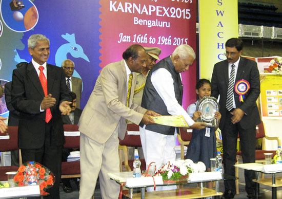 Ms. Sanvi Suresh receiving award at Karnapex 2015
