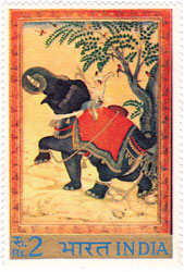 Indian Miniature Paintings - Taming of Elephant