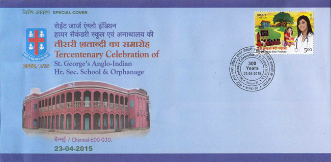 Special Cover on Tercentenary Celebration of St George's Anglo-Indian School & Orphanage